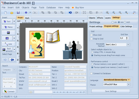 MojoSoft BusinessCards MX v4.76